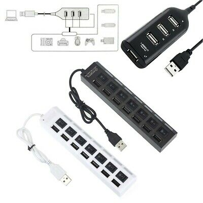 Black&White USB 2.0 Hi-Speed 4/7-Port Splitter Hub Adapter For Computer Notebook