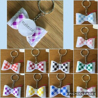 Personalised Back to school gingham Sparkling Glitter Bow bag charm any colour
