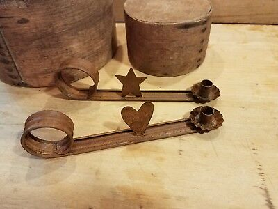Pair Primitive Old Antique Style Distressed Candle Chamberstick Holders Rusty