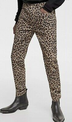 d676313b Zara Man Pant Sz 34 Brown Black Cheetah Animal Print Super Skinny Mens Pants  New