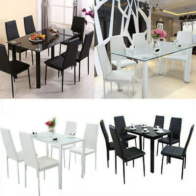 Glass Dining Table Set with 4 / 6 Chairs Set PU Faux Leather Kitchen Furniture
