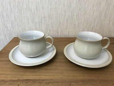 2 `LINEN `Tea Coffee Cups & Saucers Ex Condition