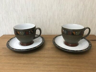Denby MARRAKESH Coffee Tea Cups & Saucers x 2 excellent Condition