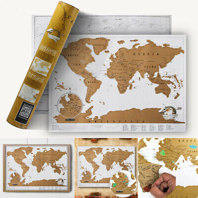 Portable Travelogue Scratch Travel Log World Map Mini Journal Poster Luxury Gold