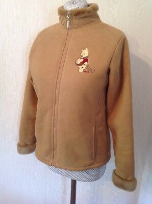 Disney Store Winnie The Pooh Ladies Jacket Size 10 To 12 beige faux fur lined