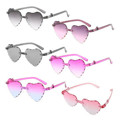 Kids Heart Shape Rimless Sunglasses Frame Tint Clear Lens Colorful Sun Glasses