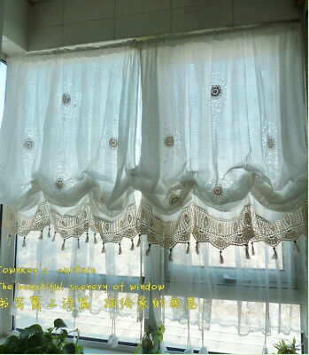 Country Cottage White Adjustable Tie Up Balloon Shade Curtain Panel Crochet Trim