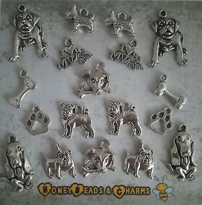 ❤ Dog Themed Charms ~ Set of 18 ~ CRAFTING//JEWELLERY MAKING ❤ COMBINED P /& P ❤