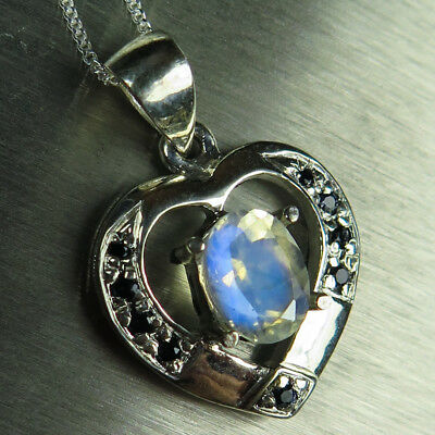 Natural Rainbow Moonstone &sapphire 925 Sterling silver /Gold heart pendant