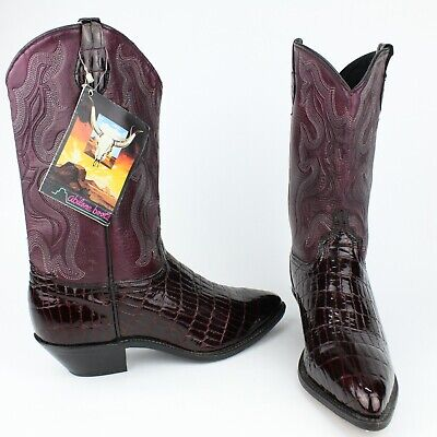 65bbb5fff5d ABILENE MENS BLACK Cherry Red Alligator Leather USA Cowboy Boots Size 10  Western