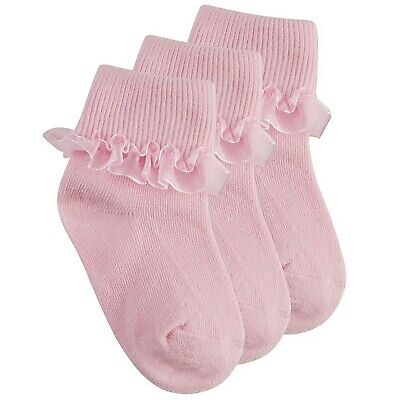 Baby Girls 3 Pack Pink Frilly Plain Ankle Socks Cotton Rich Party 0-2 Years