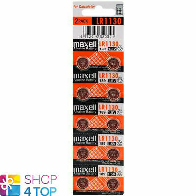 10 Maxell Alkaline Lr1130 189 Batteries 1.5V Coin Cell Button Ag10 Exp 2021 New