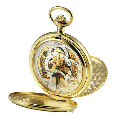 Full Hunter Two Time Zone Pocket Watch with Sun and Moon Dials and Chain