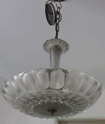 1940's Clear Glass Pan Fixture Scalloped Textured Glass Center Hanging Fitter
