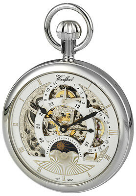 Open Face Pocket Watch with Two Time Zone Sun and Moon Dial