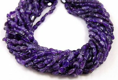 """Natural 2 Strand Purple Amethyst Gemstone Smooth 5x7-7x10mm Oval Beads 13"""" Long"""