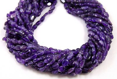 """Natural 10 Strand Purple Amethyst Gemstone Smooth 5x7-7x10mm Oval Beads 13"""" Long"""
