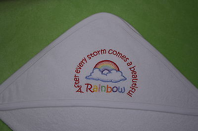 After every Storm comes a beautiful Rainbow Quality hooded baby towel colours