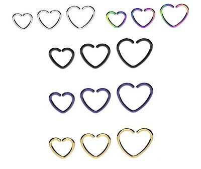 Titanium heart shaped diath rings coloured piercing ear nose gold silver black