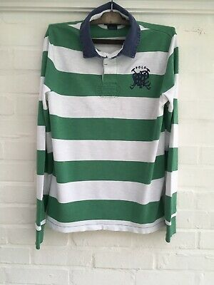 Polo by Ralph Lauren Men's Green & White Striped Long Sleeved Polo Shirt Size M