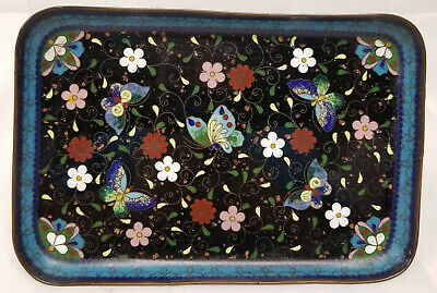 Antique Vintage Chinese Japanese Cloisonne Tray Floral Butterflies Flowers