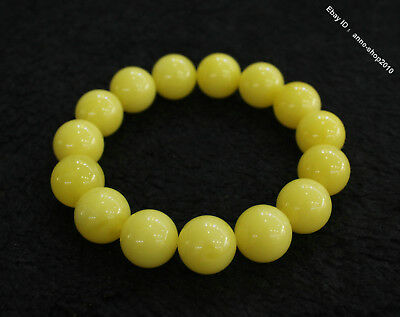Collect Chinese Chicken oil yellow Beeswax Carved Buddha Bead bracelet bangle QT