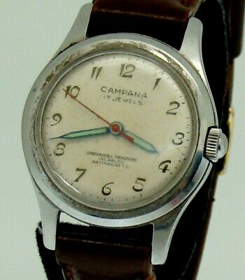 VINTAGE CAMPANA STAINLESS STEEL MANUAL WIND HARPER WATCH CO. MOVEMENT 1950's