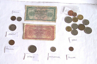 Coins - Europe - World - coins x34 - notes x6 - 1917 / 89 + - good - notes/pics