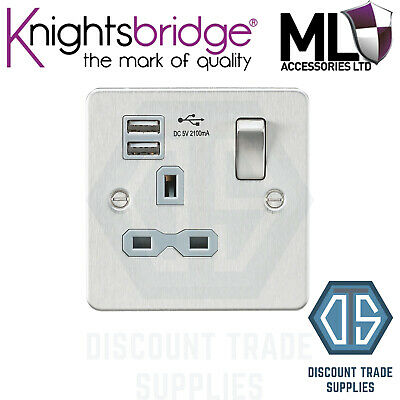 Knightsbridge Brushed Chrome Grey Insert Switched Socket 1 Gang with Dual USB