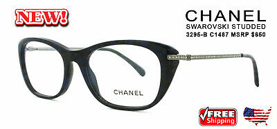 a2650e5519e New CHANEL 3295B C1487 Eyewear CZ FRAMES Eyeglasses Optical Glasses Blue  Black