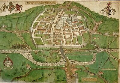 Very Early Printed Town Plan Of Exeter 1587  Fascinating Historical Map Hardback