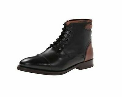 434428c18b60 Mens Handmade Boots Black   Brown Leather Lace Up Cap Toe High Ankle Formal  Shoe