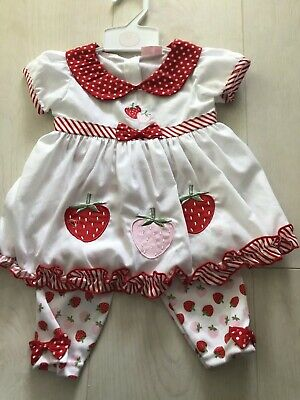 Baby Girls Summer Outfit leggings And Dress Top With Strawberries
