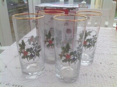 Portmeirion The Holly and the Ivy  Set Of 4 Hi Ball 15oz Glasses