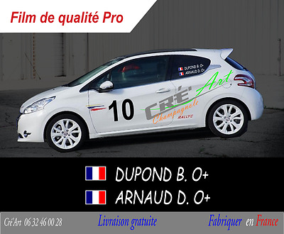 006 2 X Sets Nom Pilote Drapeau Course Blanc Autocollant Sticker Copilote