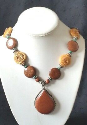Red Sunstone Cabochon Carved Bovine Bone Silver Plated Necklace