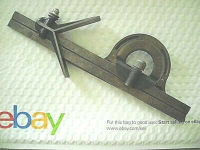 "Vintage Starrett Hardened Center Finder + 11"" Rule And Unmarked Protractor"