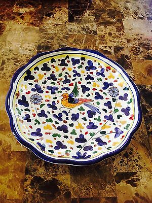 Italian Hand Painted ceramic Bowl/Plate  Gorgeous vibrant  EC!!! ready to hang