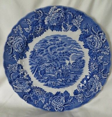 """Wood & Sons Blue & White 10"""" Dinner Plate Made In England"""