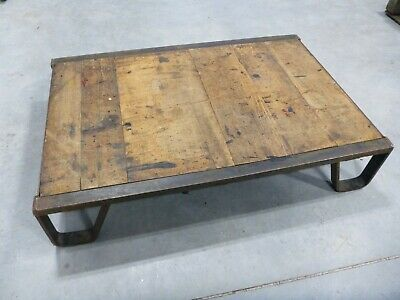 Reclaimed Vintage Antique Industrial Steel / Wood Factory Shipping Pallet SKID