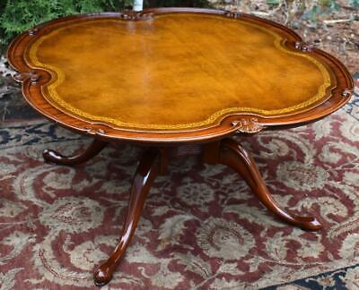 1930s English Regency Style Mahogany Leather top Coffee table / center table