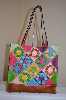 Nwt $249 Patricia Nash Italian Leather Cut Out Flower Toscano Tote Bag