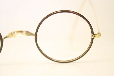 2a93d4c89427 Brown   Gold Authentic Vintage Eyeglasses Round Windsor Antique Frames  Lennon
