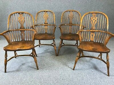 4 Windsor Chairs Antique Farmhouse Kitchen Style Dining Chairs - See Delivery **