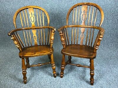 2 Antique Windsor Chairs Child's Miniature Carver Pair Doll Teddy Bear Chair ***