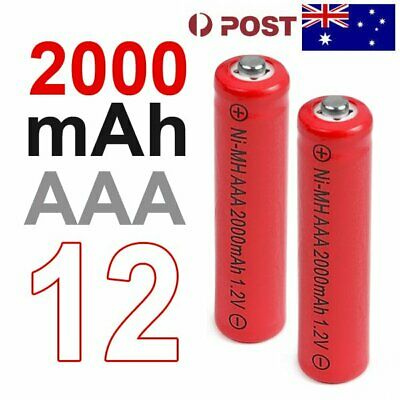 12 AAA Rechargeable Battery LR03 Ni-MH 2000mAh 1.2v (AU Stock) S220
