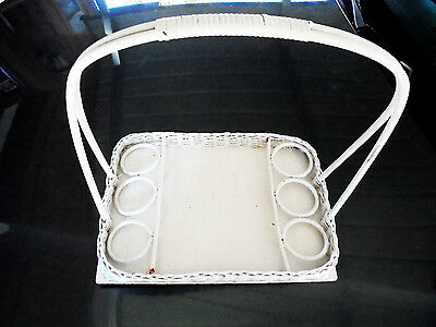 Vintage Large White Wicker Handled Serving Tray...nice..