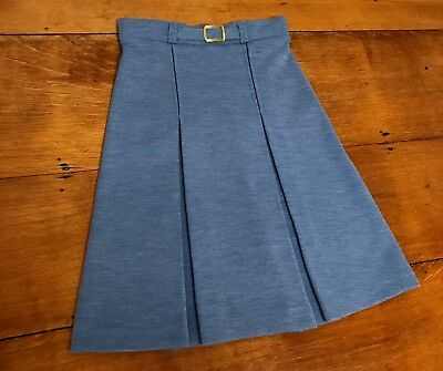 1970s Skirt A LINE Straight Inverted Front Long Blue AILEEN Belt MOD Girls Sz 10