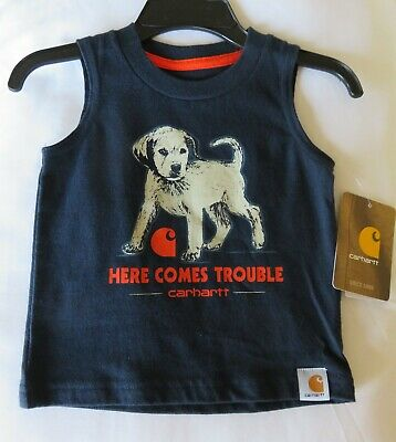 New SHIRT Here Comes Trouble Sleeveless 3 month CARHARTT Baby BOY 3 months BOYS
