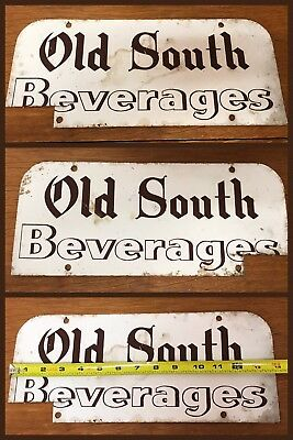 Vintage Beverage SIGN Double Sided OLD SOUTH BEVERAGES Metal Circa 1940s 1950s